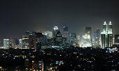 Nightly skyline of a south asian city (Jakarta) seen from Kuningan