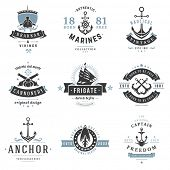 Nautical Logos Templates Set. Vector object and Icons for Marine Labels, Sea Badges, Anchor Logos De poster