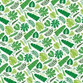 ������, ������: Tropical leaves branches pattern backdrop Green