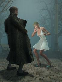 image of exhibitionist  - pervert man shock woman - JPG
