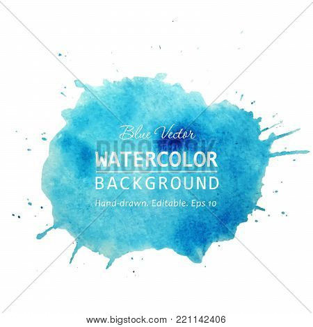 poster of Watercolor splash banner design. Isolated Watercolor stain blue watercolor background. Watercolor texture background for text, web, banner, label, card, backdrop, tag, flyers design. Watercolor vector