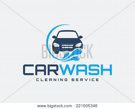 Carwash Logo Isolated On White Background Vector Emblem For Car