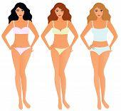 Set of women in underwear