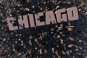 Top View Of Urban City In 3D With Name Chicago