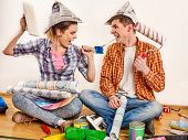 Repair family by happy couple building home. Quarrel family because of renovation in new apartment.  poster