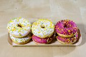 Tasty And Fresh Donuts On The Kitchen Table. Cookies, Tasty Snacks On A Wooden Table. Table In Kuchi poster