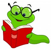 stock photo of caterpillar cartoon  - Vector illustration of a worm reading book - JPG