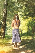 Pretty Free Hippie Girl Smoking On The Grass - Vintage Effect Photo poster
