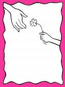 Little Hand Giving Flower Big Hand