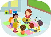 Illustration of Kids Listening to Their Teacher Play the Guitar