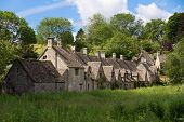Arlington Row in Bibury with River Coln, Cotswolds