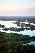 Aerial view of historic gothic castle of Trakai, Lithuania