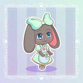 Sweet Rabbit Little Cute Kawaii Anime Cartoon Bunny Girl In Mint Dress With Clover Ribbon Eps10 poster
