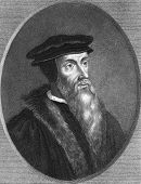John Calvin (1509-1564). Engraved by T.Woolnoth and published in The Gallery Of Portraits With Memoi