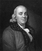 Benjamin Franklin (1706-1790). Engraved by J.Thomson and published in The Gallery of Portraits with