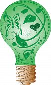 Green Swirls Light Bulb