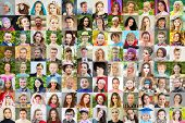 96 faces - children, adults, teens, seniors, collage with 62 models poster