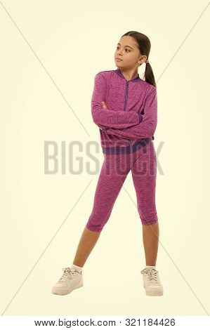 poster of Deal With Long Hair While Sport Exercising. Working Out With Long Hair. Girl Cute Kid With Ponytails