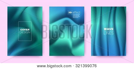 poster of Mint Flow Poster. Abstract Covers Set. Movement Vibrant Lines. 3d Geometric Background. Flow Vibrant