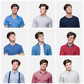 Collage of young man over white isolated background smiling looking side and staring away thinking. poster