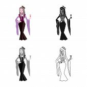 Vector Design Of Vampire And Girl Sign. Collection Of Vampire And Ghost Stock Symbol For Web. poster