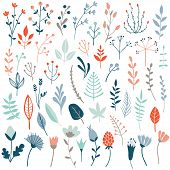 Big Vector Set Of Floral Elements With Hand Drawn Flowers And Leaves. Flower Graphic Design. Herbs A poster