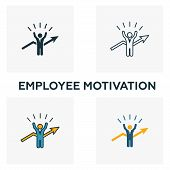 Employee Motivation Icon Set. Four Elements In Diferent Styles From Human Resources Icons Collection poster