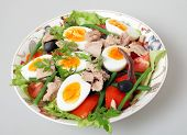 A serving bowl of freshly made traditional nicoise salad - lettuce, potato, tomato, green beans, tun