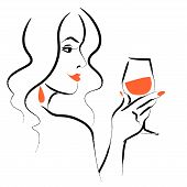 Vector Hand Drawn Portrait Of Young Beautiful Lady  With Long Hair Hold Wine Glass Isolated On White poster