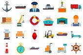 Marine Port Icons Set. Flat Set Of Marine Port Vector Icons For Web Design poster