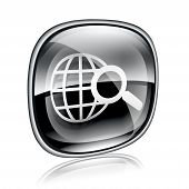Globe And Magnifier Icon Black Glass, Isolated On White Background.