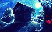 Watercolor Fantasy Painting, Night Horror Landscape Background With Home, Moon, Trees, Hills, Fantas poster