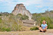 Girl in Mayan ruins - Uxmal, Mexico