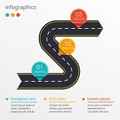 Winding Road With 3 Steps, Options Or Levels. Step By Step Infographics Template With Asphalt Road I poster
