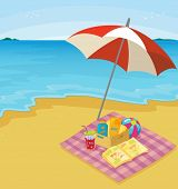 Illustration of a blanket of items at the beach