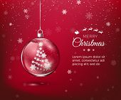 Marry Christmas. Transparent Glossy Christmas Decoration. Christmas Tree Silhouette Made Of Paper Sn poster