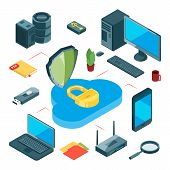 Secure Cloud Storage. Isometric Data Storage Vector Concept. Information Transfer, Internet And Loca poster