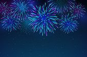 Colorful Fireworks On A Dark Blue Background. Beautiful Festive Sky For Bright Design. Bright Firewo poster