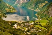 Fjord Geirangerfjord Withcruise Ship, View From Flydasjuvet Viewing Point, Norway. Travel Destinatio poster