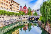 Ljubljana, Slovenia. Cityscape On Ljubljanica River Canal In Old Town. poster