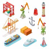 Isometric Ships. Sea Transport Maritime Terminal Shipping Logistics Port Seaport Crane Ship Shipping poster