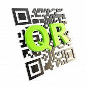foto of qr-code  - QR code technology illustration icon isolated on white - JPG