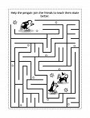 Winter Or Holidays Themed Maze Game Or Activity Page With Skating Penguins: Help The Penguin Join Th poster