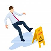 Isometric Caution Wet Floor Sign Isolated On White Background. The Man Slipped On The Wet Floor. poster