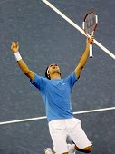 FLUSHING, NY - SEPTEMBER 10: Roger Federer celebrates after winning against Andy Roddick during the