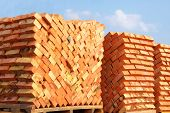 Construction Materials. Building Materials For Construction Of Residential Complex. Pile Of Brickwor poster