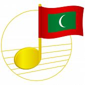 Maldives Flag And Musical Note. Music Background. National Flag Of Maldives And Music Festival Conce poster