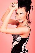 Beautiful young woman in lingerie. Studio shot.