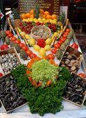 Restaurant Display Of Shellfish, And Fruit Adn Vegetables