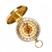 Old vintage retro golden compass isolated. Top view